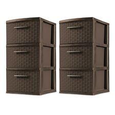 2 PACK 3 Drawer Storage Tower Organizer Box Home Room Espresso Weave Cabinet