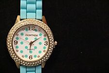 LADIES WATCH, AQUA COLOR STRAP BAND, ROSE GOLD COLOR WATCH, STONES AROUND