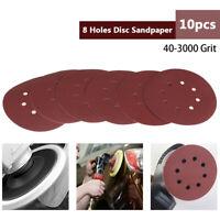 10x 125mm Grit Papier de Verre Ponçage Polissage Abrasif Disque 8 Trous 40-3000