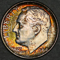 1964-D Roosevelt Dime 10C - Gem Uncirculated - Colorful Toning