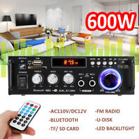 600W 110V HIFI Audio Stereo Power LCD Amplifier bluetooth FM Radio 2CH Car Home