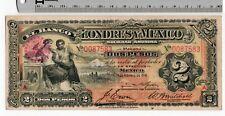 1914 2 Pesos El Banco de Londres y Mexico Anonima Mexican Banknote CRISP