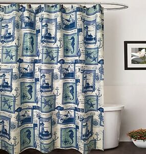 70 in x 72 in Bahamas blue Canvas Fabric Shower Curtain Matching Resin Hooks Set