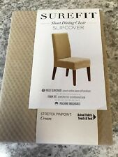 Sure Fit Stretch Pinpoint Short Dining Room Chair, Cream - NEW