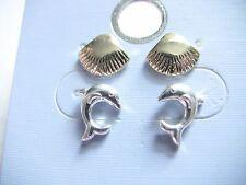 Women's Girl's Pierced Stud Earrings Silver Gold Toned Dolphin Sea Shell Jewelry