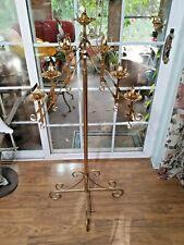 Vintage Large Adjustable 2 Branch 7 Candle Freestanding Floor Candelabra