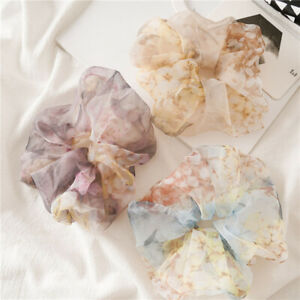 Thin Organza Sheer Oversized Elastic Scrunchies Hair Rope Ring Ties Rubber Bands