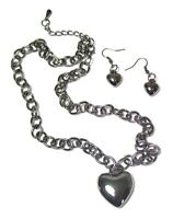 Plain Hematite Silver Love Heart Necklace Earrings Set Pendant Chain Women Girls