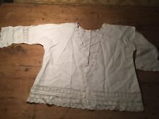 VINTAGE 100% COTTON BRODERIE ANGLAIS & CROCHET LACE TOP - BED JACKET - COVER 44""