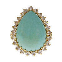Natural Color GIA Certified Turquoise Ring 18k Yellow Gold Diamond