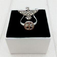 Fashion Lady Men's The dove of peace water diamond alloy finger ring size 8