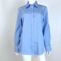 Izod Size Large No Iron Blouse Top Button Down Long Sleeve Blue Shirt
