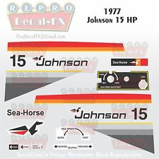 1977 Johnson 15 HP Outboard Reproduction 19 Piece Marine Vinyl Decal Sea-Horse
