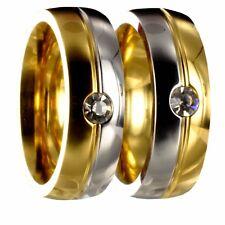 2 bicolor silber/gold Edelstahl Partnerringe Trauringe incl. Innengravur 50176