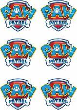 JOBLOT OF 6 PAW PATROL LOGO IRON ON T SHIRT TRANSFERS WHITE/LIGHT FABRICS