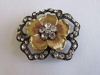 Belt Buckle , Ladies , Unique Design , Gold Plate / Rhinestone /Metal , Vintage