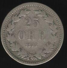 More details for 1877 sweden oscar ii silver 25 ore coin   european coins   pennies2pounds