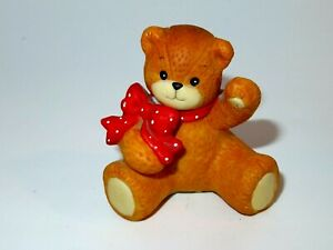 Enesco Lucy & Me SITTING BEAR WITH RED/WHITE SCARF Figurine 1994 - EUC