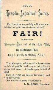 USA POSTAL STATIONERY Advert Card 1877 *Agricultural Fair* SPRINGFIELD CS149
