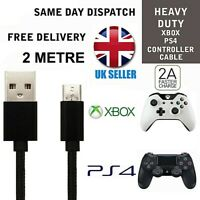 Black Charger Cable 2m for PS4 Dualshock 4 controllers Micro USB Charging lead
