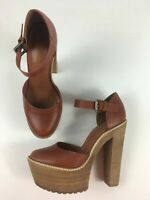 WOMENS TOPSHOP BROWN LEATHER ANKLE STRAP VERY HIGH HEEL PLATFORM SHOES UK 7 EU40