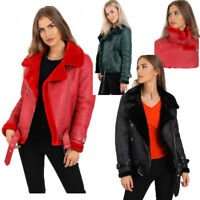 NEW Womens Faux Leather Aviator Belt Faux Fur fleece Lined Ladies Jacket Coat UK