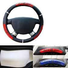 Stylish Car PU Leather Steering Wheel Cover 38cm 15'' Black + Red Dragon Icon