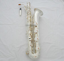 Professional Silver Plated Finish Baritone saxophone Sax Low A Key With Case