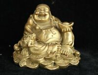 Decorated Chinese Brass Carved Wealth Toad Happy Laugh Maitreya Buddha Statue