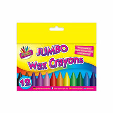 12 Jumbo Wax Crayons - Pack Children Kids Party Colouring Soft Bright Colours