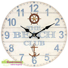 Vintage Style Shabby Chic Beach Club Wall Clock - NEW