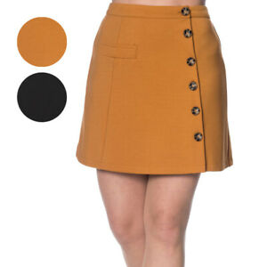 Banned Beatrice Vintage Rockabilly Retro 1950s Buttons Asymmetric Womens Skirt