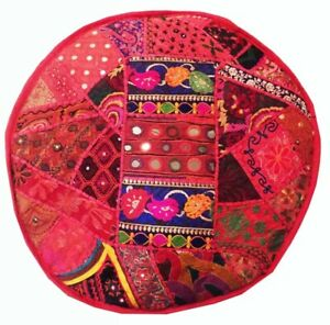 """24"""" ETHNIC BANJARA KUTCH IND FURNITURE OTTOMAN BENCH FOOTSTOOL POUF PILLOW COVER"""