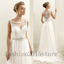 New 2017 White/Ivory Chiffon Wedding Dress Beach Bridal Gown Custom size4+6+8+++