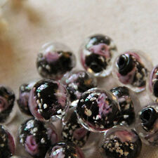 10X Luminous Glass String Bead Loose Rose Flower For Making Jewelry Bracelet DIY