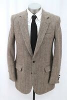 vintage mens beige brown herringbone HARRIS TWEED blazer jacket sport coat 40 L