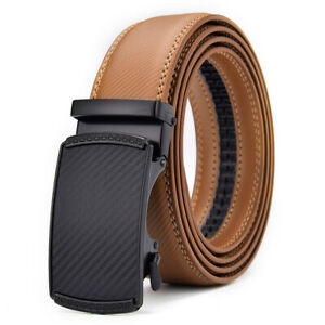 Mens Italian Leather Belt Belts New Real Sliding Buckle Trouser Black Brown Tan