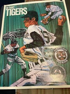SCARCE 1971 BASEBALL PROMOTIONS/MLB~DETROIT TIGERS~23x29 INCH~POSTER PREMIUM