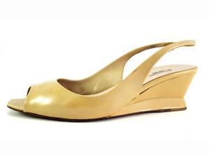 Miu Beige Patent Leather Wedge Open Toe Pumps, Women's shoe size US 7 EU 37