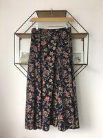 Laura Ashley Vintage Floral Cottagecore Bias Cut Mid Length Skirt Size 8 Small