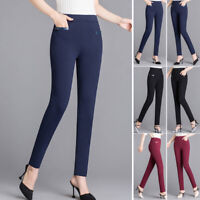 Women High Waist Casual Skinny Leggings Pants Stretch Slim Office Pencil Trouser