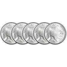 Five (5) 1 oz. Golden State Mint Silver Round Buffalo Design .999 Fine