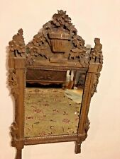 Louis Xvi Original French Country Mirror Flowers Brown Paint Ca. 1780