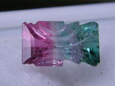 1 Turmalin bicolor pink/petrol 3,89 ct Baguette graviert 7,2 x 12 mm