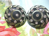 VINTAGE GRAY CUT CARVED TO CRYSTAL CLEAR LUCITE RHINESTONE CLIP ON EARRINGS