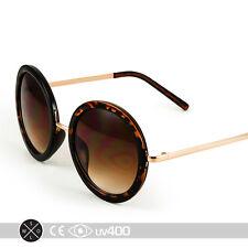 Tortoise Gold Vintage Inspired Retro Steampunk Round Circle Sunglasses  S065