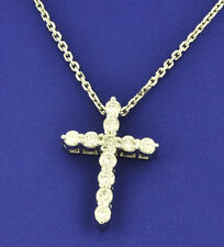 pendant 0.78 ct shared prong made Usa 14k Solid White gold Natural Diamond Cross