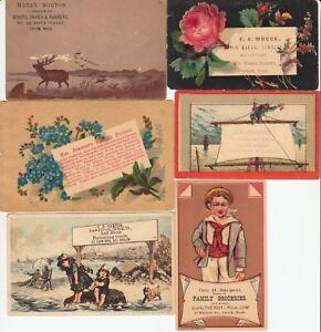 6 ANTIQUE ADVERTISING/BUSINESS CARDS c1870s SALEM, Ms USA