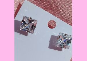 Glamorous sparkly large silver 10mm Square clear crystal studs earrings
