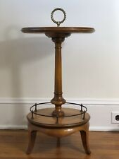 Vintage Weiman Two-Tier Leather Top Side Table